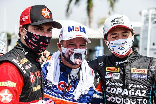 Piquet, Barrichello e Suzuki: só alegria