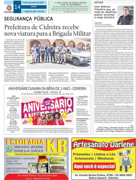 07.11.19 - Jornal Dinâmico - Estância Velha - Atílio Dengo