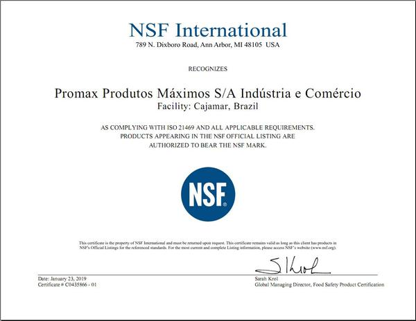 Certificado para produção de atóxicos