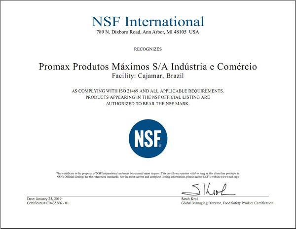 Certificação para produção da linha atóxica