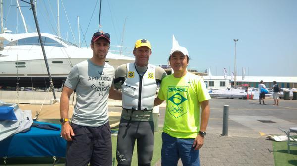 O técnico Francesco Marrai, Scheidt e o fisioterapeuta Ricardo Takahashi