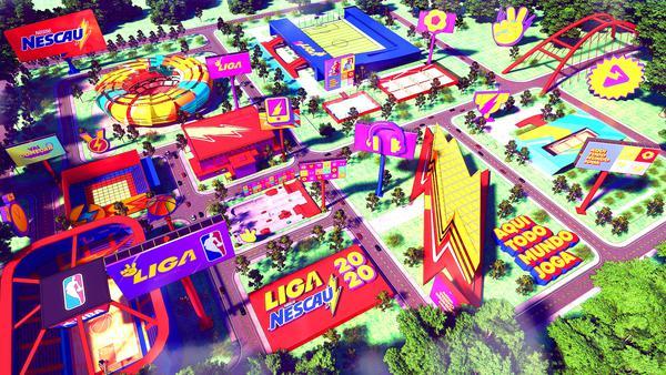 Cidade virtual NESCAU com várias arenas esportivas