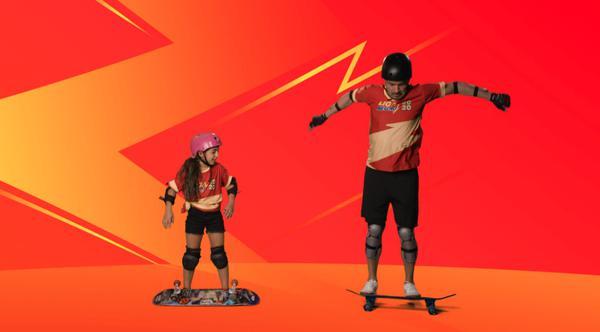 Falcão se equilibra no skate
