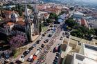 Vista aérea de largada no centro de Botucatu (Wladimir Togumi/Festival Brasil Ride)